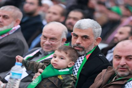 Hamas leader Yahya Sinwar with his son during the festival